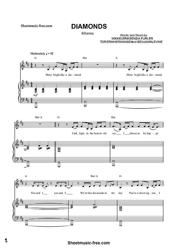Diamonds Sheet music Rihanna Download From this site you can download Rihanna Diamonds Sheet music for piano. This song performed by Barbadian singer Rihanna beautiful, included in its seventh album Unapologetic, published in 2012. Key: G (Sol) Instrument: Piano, includes melody and words. Number of Pages: 9 Composer: Sia Furler and Benny Blanco   FREE Sheet Music Download  #Diamonds #Rihanna #sheetmusic #pianosheet #partitura #music #piano #pianist