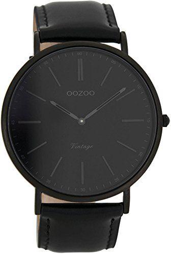 Oozoo Vintage Ultra Slim Leder 44 MM Weiss/Schwarz C6906: Amazon.de: Uhren