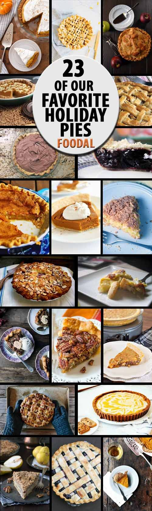 At the holidays, dessert wouldn't be complete without a slice of pie. From apple and pumpkin to custard and banana cream, we share our favorite pies from around the web. Plus recipes to cater to those with special diets, food allergies, and intolerances. Read more and get the recipes now on Foodal: http://foodal.com/recipes/desserts/holiday-pies-roundup/