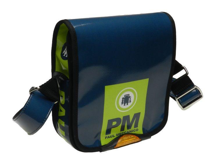 Tracolla blu e verde fluorescente in telone camion modello Mipok marca Paul Meccanico.