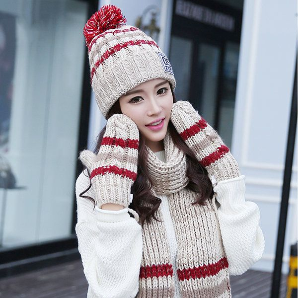 Women Winter Hat Scarves Gloves Set Cotton Kintted Pompom Hats Stripe Thick Beanie Collar Gloves