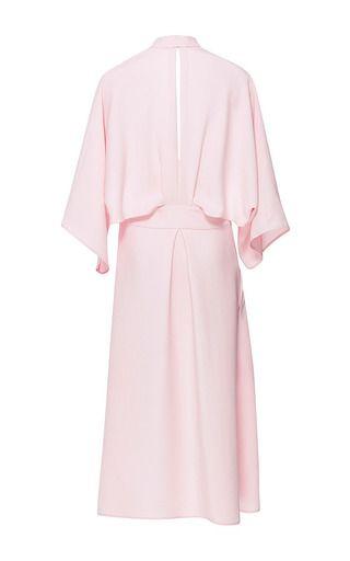 TOME | Pink Silk Crepe V Neck Dress