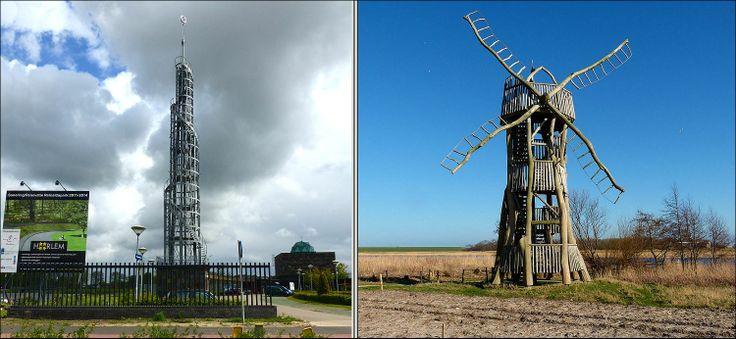 Twee verschillende nieuw gebouwde torens... links van staal bij Haarlem en rechts op Texel, van kaphout...