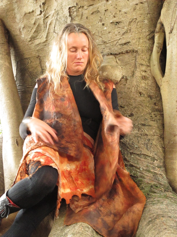 Silk organza, shibori garment with wool and silk felted skirt. Created by Susan Fell Mclean Gondwana Textiles Australia