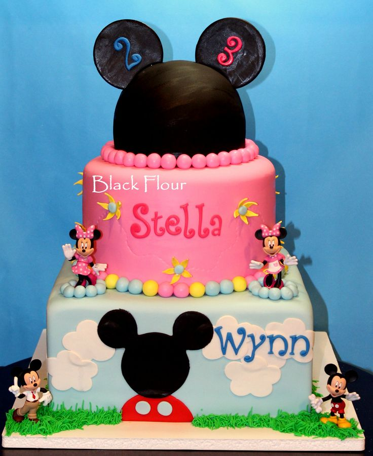 Mickey And Minnie Themed Birthday Figurines Brother And