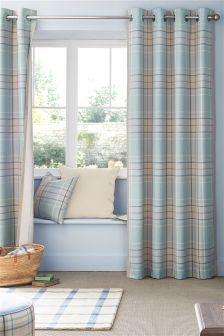 Blue Linen Look Check Eyelet Curtains