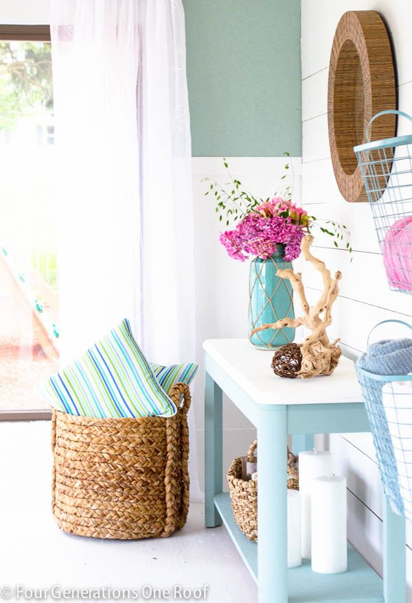 Pool house makeover featuring DIY planked walls, board and batten wall treatments + HomeGoods  giveaway @Mandy Bryant Bryant Bryant Bryant Dewey Generations One Roof