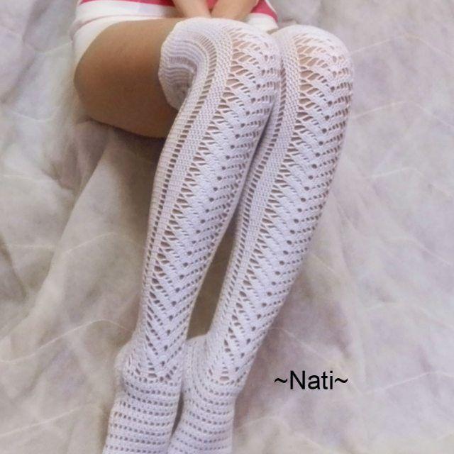 2bbc69c85026a (@crochet_nati) в Instagram: Вязаные гольфы. Вязаные чулки. Ажурные носочки  крючком