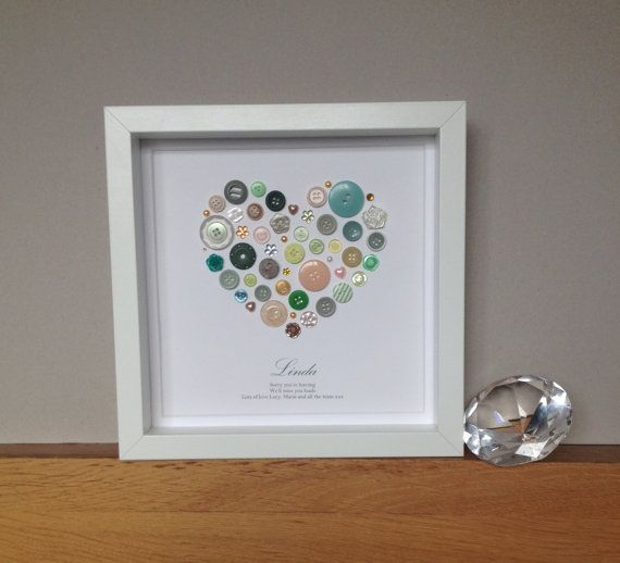 Sorry you're Leaving Personalised Artwork Using Buttons and embellishments - Farewell Gift - Retirement Gift - Button Art - Leaving gift
