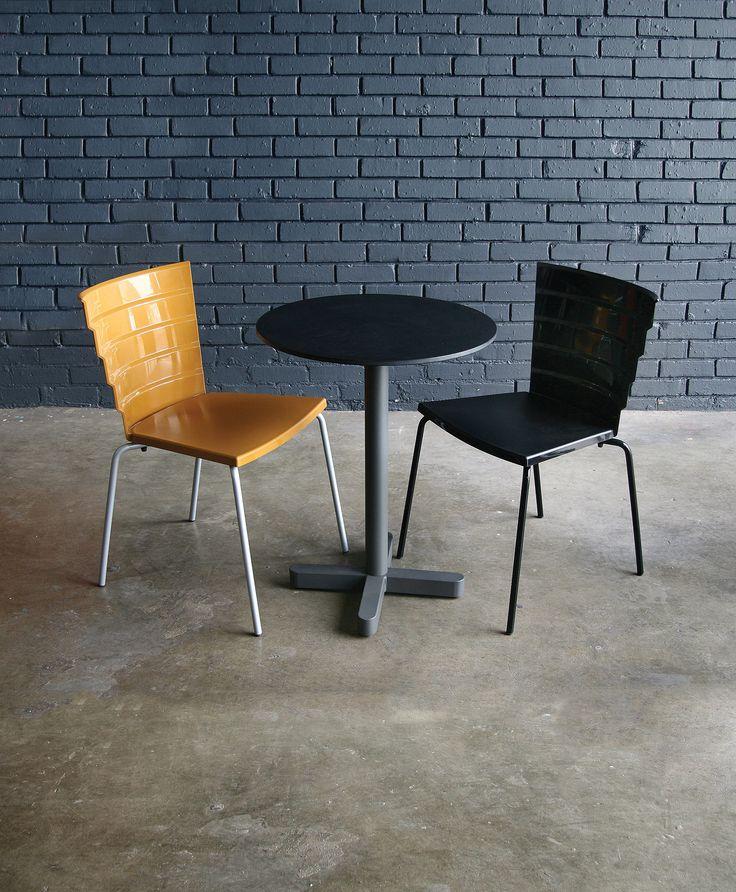 Bikini 1.0 in Orange and Black VR color from Sandler Seating. Designed by Marc Sadler, suitable for outdoors.