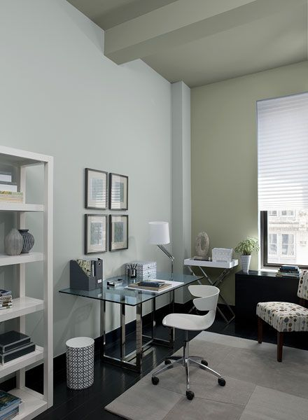 Benj. Moore's Smoke 2122-40 on walls & Storm Cloud Gray 2140-40 on accent wall & ceiling.  Sabring White )C-137 as the accent.  Sophisticated home office painted in a gray color scheme.