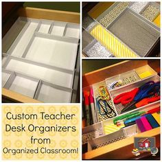 Custom Teacher Desk Organizers  Hi teacher friends! I thought a fun DIY tutorial would be a great post as we are almost headed into the weekend. And this one is super simple and fun! Have a drawer you need to organize? Well, if you have to organize it anyway, might as well make it cute along the way!   This is so easy, you can complete it in an hour or less!
