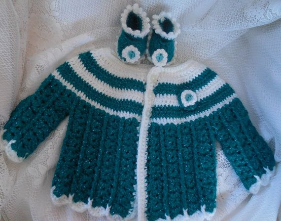Crochet baby sweater crocheted baby sweater by TillieLuvsTreasures