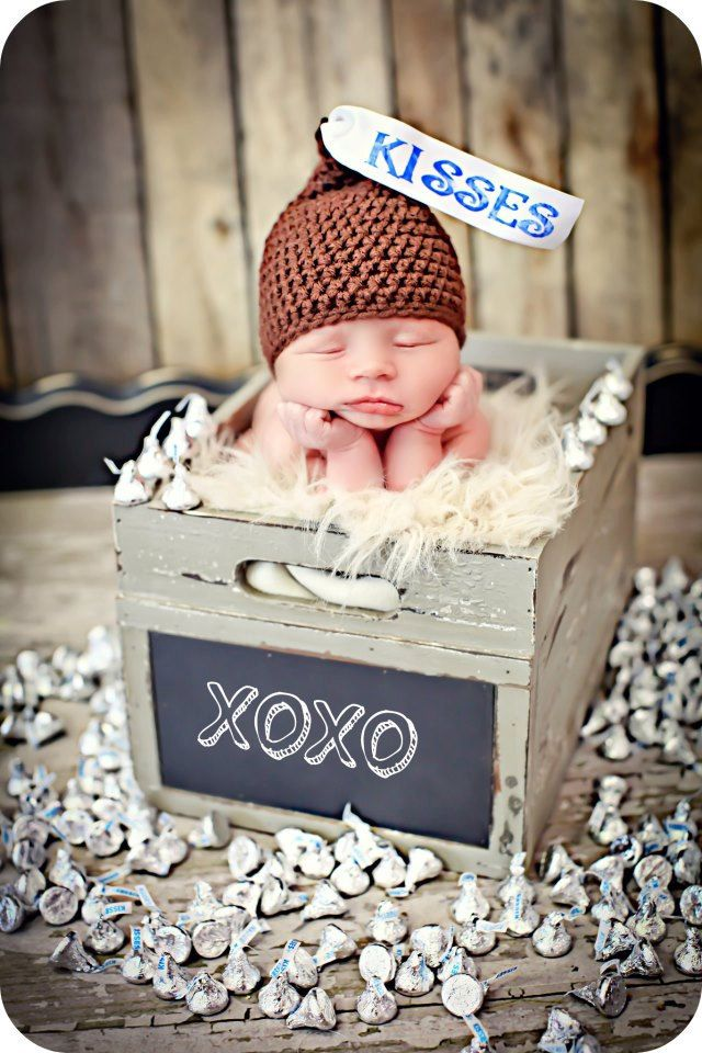 Newborn Photo Prop Baby Kiss Hat. $27.00, via Etsy.