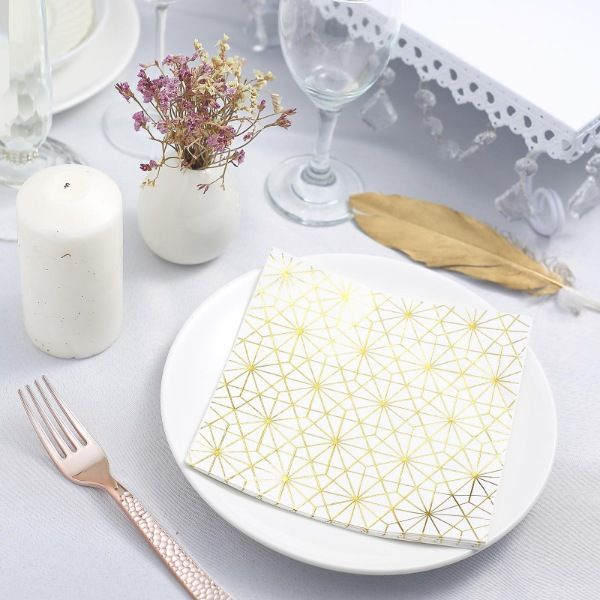 Balsacircle 20 Pcs 13x13 In Metallic Gold And White Geometric Paper Napkins Accent Your In 2020 Wedding Dinner Napkins Paper Napkins Wedding Wedding Cocktail Napkins