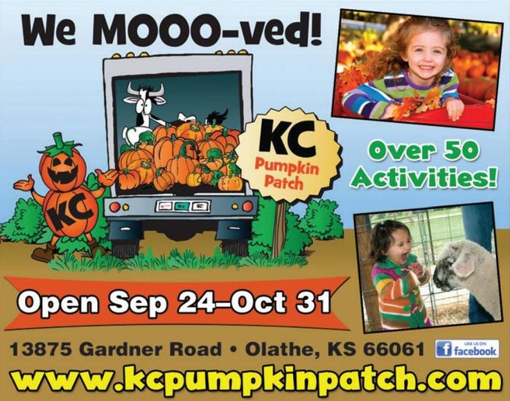 KC Pumpkin Patch moved to 13875 Gardner Road!! Come check out KC Pumpkin Patch opening day on September 24th, they have over 50 activities for your kids to do including pumpkin jump, corn maze, and play areas!  // For more family resources visit www.ifamilykc.com :)
