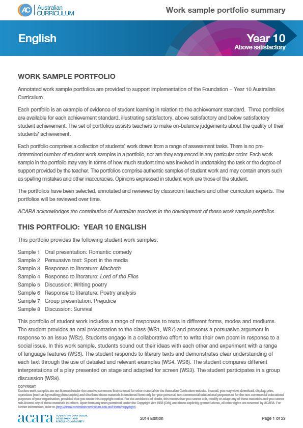 Year 10 work sample portfolio -above satisfactory