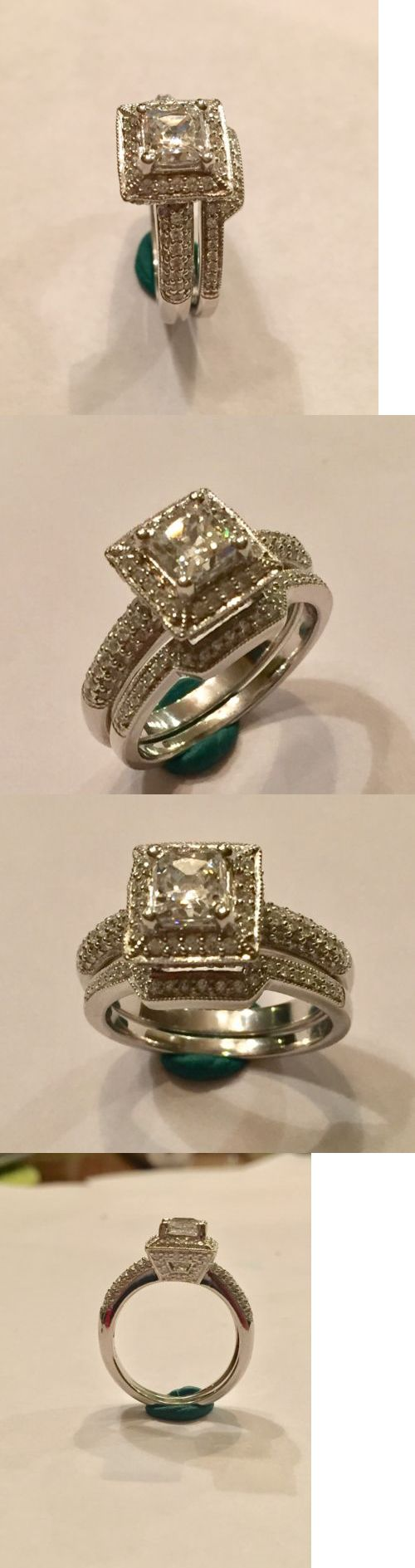 ebay eheringe ebay wedding ring sets CZ Moissanite and Simulated Sterling Silver Wedding Ring Engagement Ring Set Princess Cut Halo