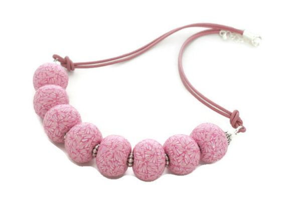 Fashion Accessories | Jewelry | Pink Statement Necklace  Polymer Clay Necklace by Lottieoflondon
