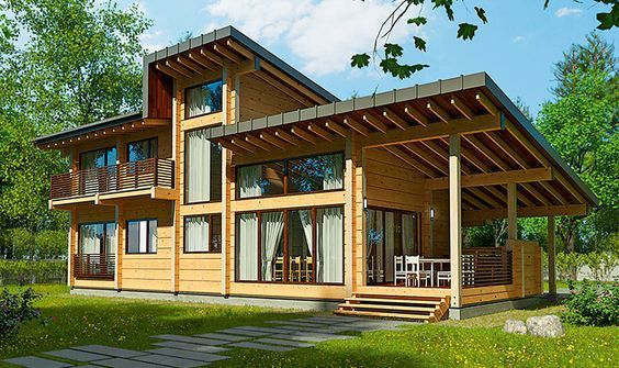 Пригородный дом из клееного бруса_Suburban house from glued timber