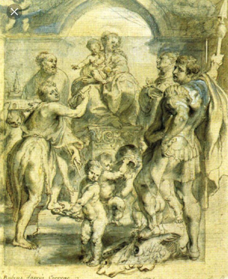 """Rubens. Albertina Graphische Sammlung.  Dalla """"Madonna di San Giorgio"""" di Correggio."""