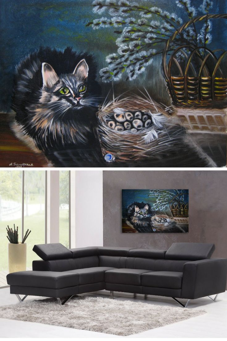 """Easter Cat. Original Oil Painting on Canvas. Cat Lover Gift. Perfect Gift for Her. Wall Decoration. Wall Art. Home Decor. 18""""x 24"""", 46 x 61 cm. 2017. CAD380 Unframed. Ready to hang. Painted edges."""