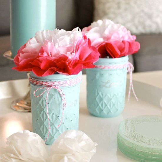 These beautiful painted glass jars would make a gorgeous addition to Valentine's decor or could work all year long! So simple to make!