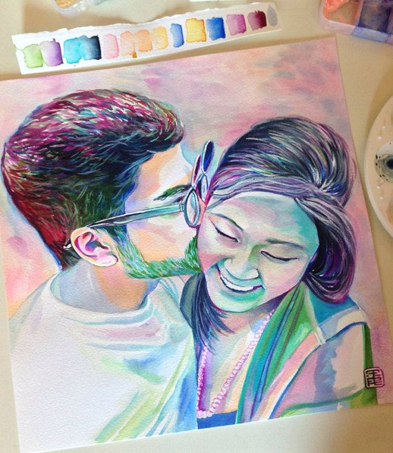 CUSTOM COUPLE PORTRAIT, Romantic gift, special gift, for girlfriend, for boyfriend, for him, for her, custom gift, boyfriend gift  ❤ This listing is