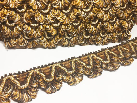 Brown Pumpkin and Beige Scalloped Braid  Vintage  French Lyon
