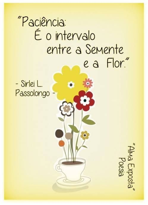 Paciência é o intervalo entre a Semente a Flor.: