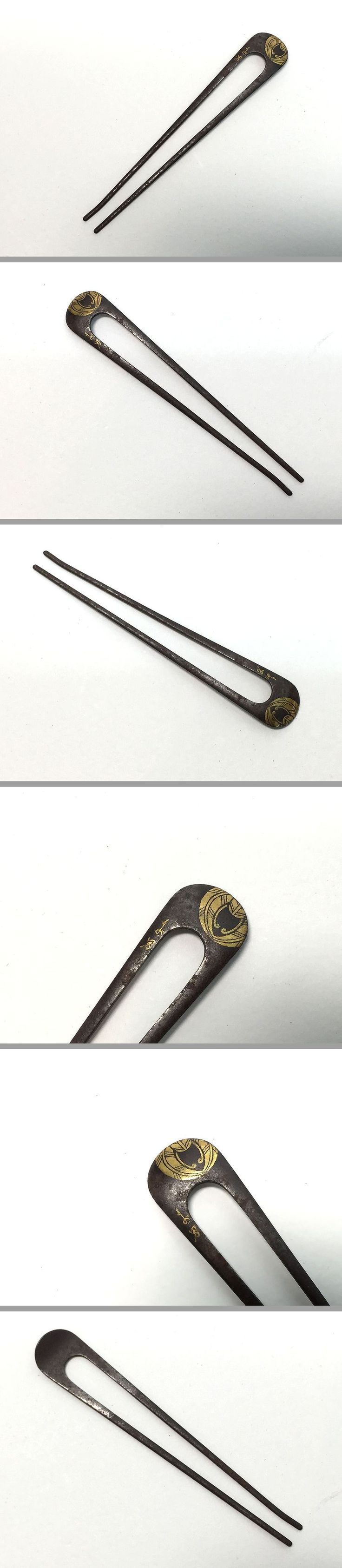 Japanese hair ornaments - Iron Hairpin Inlaid With Gold Signature Of Artist And Kamon Of Japanese Family Japanese Hairhair Ornamentshairpinhair