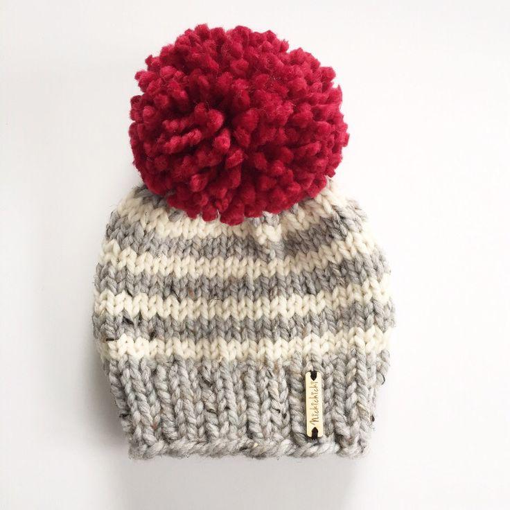 Nickichicki pom-pom beanie, toddler hand knit winter beanie, baby winter hat, wo…