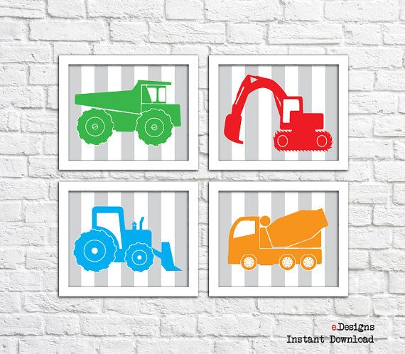 Printable Nursery Wall Art Construction Vehicles Wall by eDesignss
