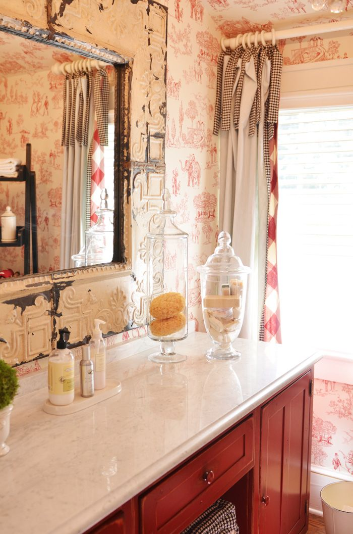 Jars Redwhiteblack French Country Bathroom This Frame Is Amazing Can I DYI To Out The Big Mirror In Hall Bath