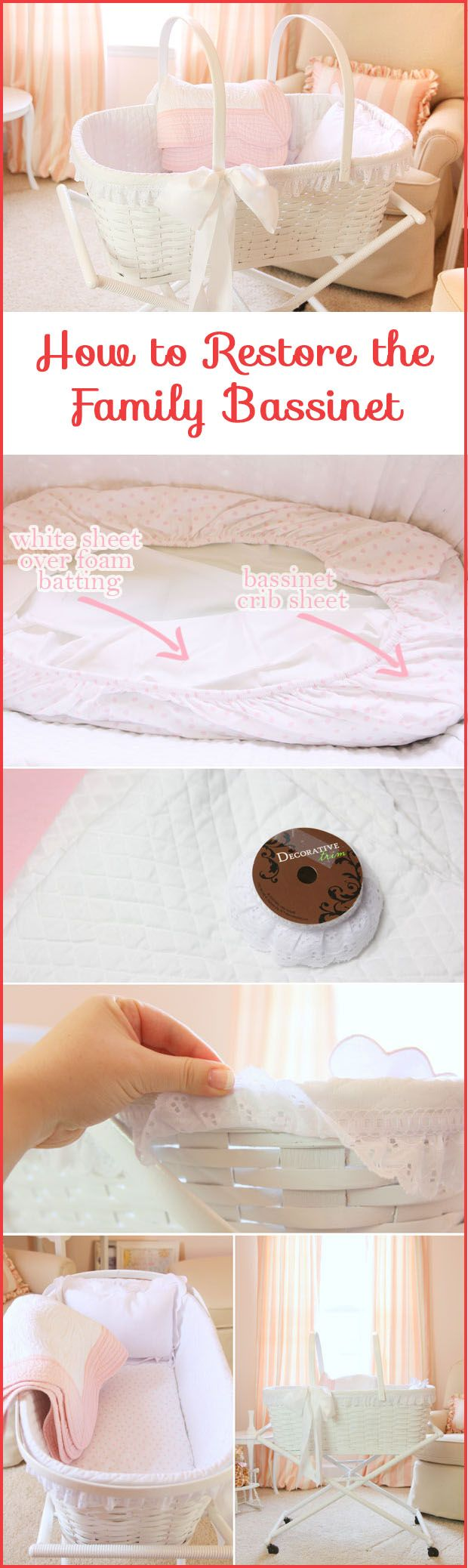 @Courtney Baker Baker Whitmore {Pizzazzerie.com} shares how she restored her 100 year old family bassinet. #DIY