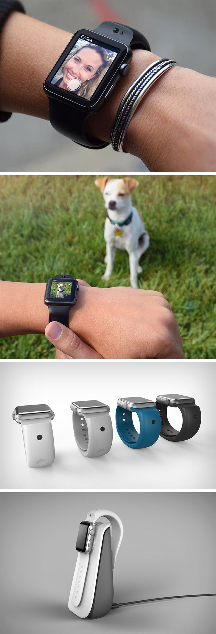 The CMRA strap puts not one, but TWO cameras on the strap of the Apple Watch! Positioned in a front/back configuration, the strap can either film you, or what's going on in front of you. The CMRA strap comes with 24-hr batteries of its own, so never fear. Both cameras are HD enabled and LED lights shine up to notify you if the camera is in use.