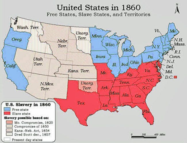 Slavery States Map.Free And Slave States Map 1860 Adventures In Public History