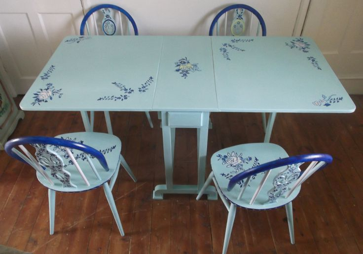 Bespoke 5 Piece Dining Room Set With Drop Leaf Table Hand Painted Inive And B