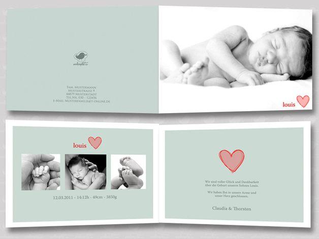 Baby- & Geburtskarten - individuell Foto Geburtskarte Klappkarte Babykarte - ein Designerstück von Wolkenpost-de bei DaWanda