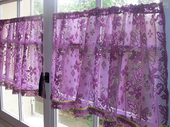 Aubergine Lace Cafe Curtains, Purple Kitchen Curtains, French Lace Curtains, Country Cottage Decor