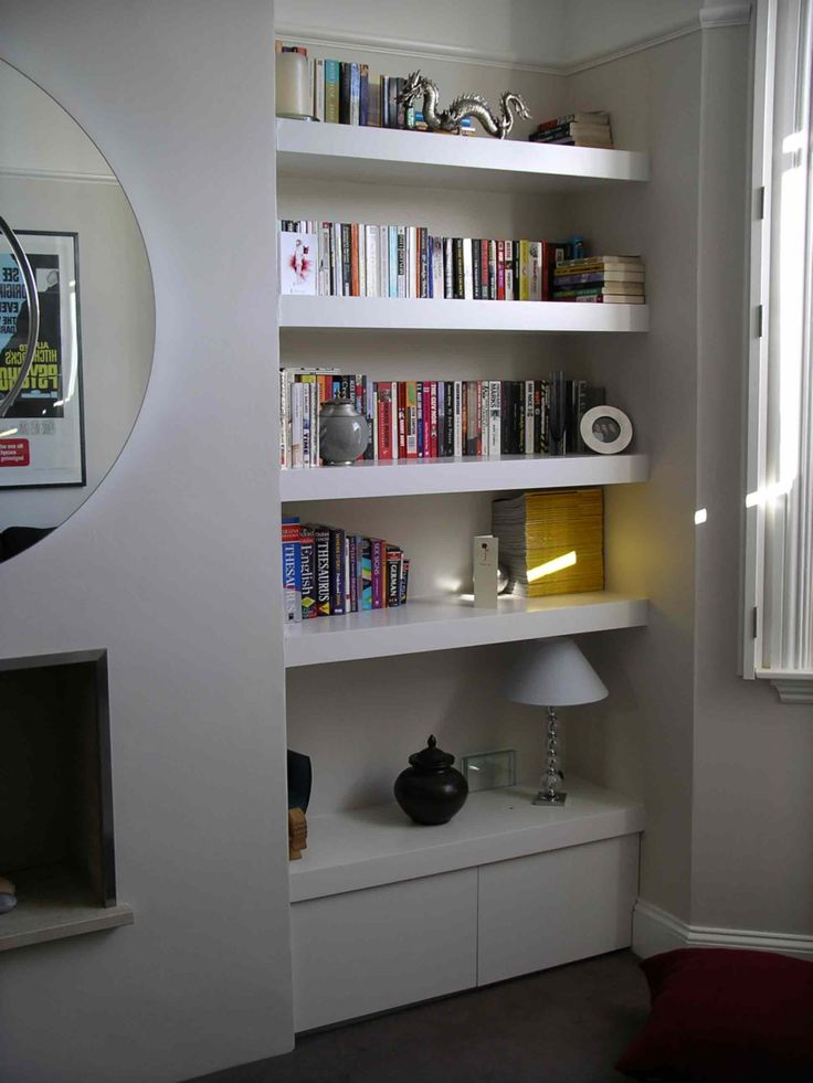 I like the idea of being able to fit a lamp on the cupboard/shelf. Consider this when putting the shelving in