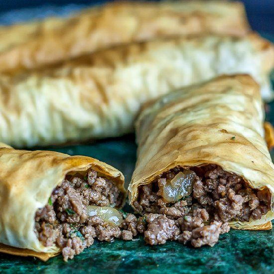 Burek- A Tunesian pastry made with spiced meat and phyllo dough.