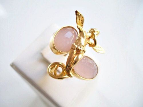 CHRISTMASS SALE-ANGEL Special Pink Quartz Dual ring by beadycats