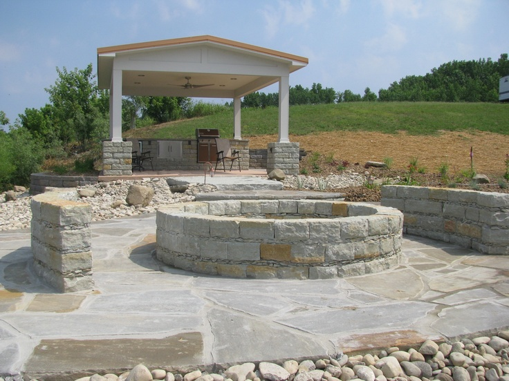 Covered Pavilion With Firepit Natural Stone Mortared 640 x 480
