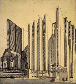 City of the Future, a futuristic vision by Antonio Sant'Elia (circa 1910)