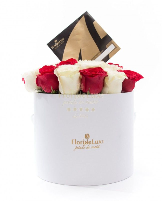 Box with red and white roses,immaculate box, filled with 23 red and white roses is just overwhelming.