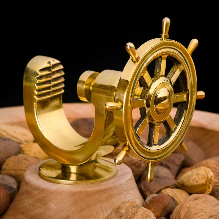Artisan Ships Wheel Nut Cracker Kit from Craft Supplies USA --- The solid brass Artisan® Ships Wheel Nut Cracker Kit is attractive, functional and fun to use. #woodturning #woodturnerscatalog