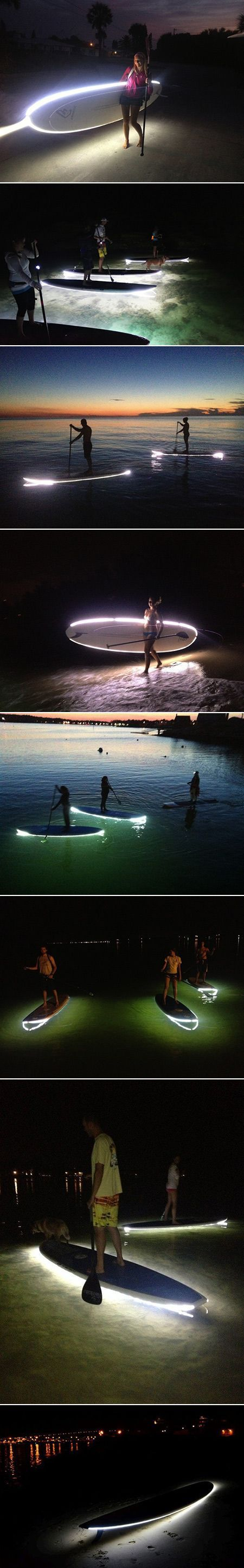 An accessory for paddle boards to make them safer to use at night. By attaching a custom-made, permanent strip of LED lights around the border of a board, surfers are given a source of light to guide them at night and illuminate the ocean floor below them. Repinned by Wondrous www.wondrous.com.au