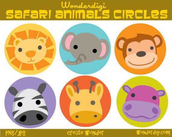 Zoo Animals Clipart Circle Lables Safari Animals Clip Art Etsy In 2021 Animal Clipart Safari Animals Zoo Animals