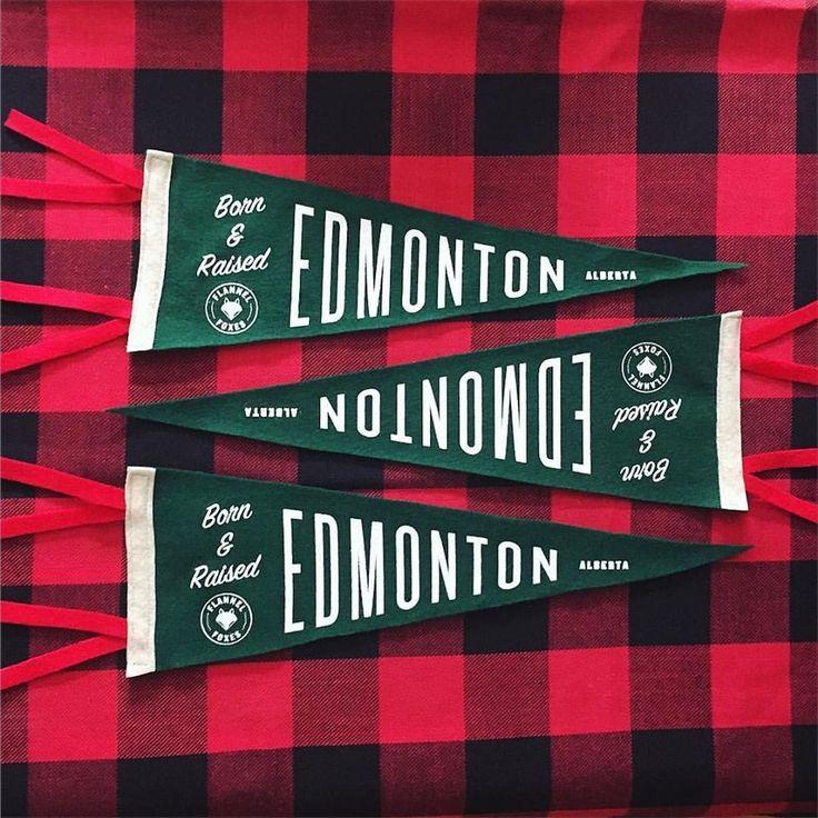 Born and raised in Edmonton Alberta Pennant Flag // Flannel Foxes